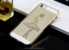 Electroplating Dancing Girl Diamante PC Case for Apple for iPhone 5S, Alibaba Express