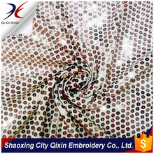 2015 HIGH QUALITY SHINY GOLD SEQUIN EMBROIDERY ON LIGHT WEIGHT CHIFFON FABRIC GROUND FOR DRESS OR GARMENT