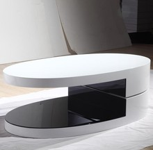 Modern Fashion Designs Oval Shape MDF Rotating Coffee Table Wood