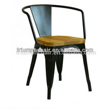 Triumph sillas con asiento de madera / bistro butaca con asiento de madera / Powder Coated Marais silla de comedor / sillón dura