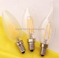85-260V 2W/4W E14 35*H98mm CE/EMC/GS/ERP/SASO Glass C35 LED Filament bulbs