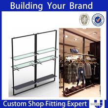Fashionable good quality curved wall folding wood display shelf