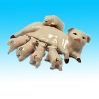 Hand painted Ceramic Family Pig Figurine home decoration