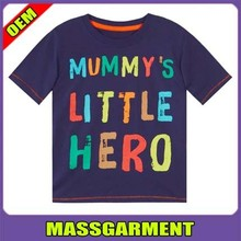 Low price wholesale fashion O-neck cotton print kids t shirt