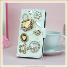 Gold Bag Diamond Rhinestone wallet for iphone 6 pu leather case for iphone 6 plus flip wallet phone case