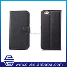 OEM/ODM Mobile phone black stand Wallet flip pu leather case for iPhone 6 4.7 iphone 6 plus 5.5
