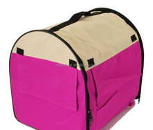 Pet Carrier Soft Sided Travel Crate Cage Nylon Kennel Portable Pink and White