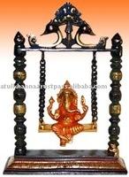 Ganesha In Swing , Brass Ganesh statue