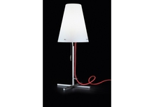 9.14-12 polished chrome steel opal white blown glass red cable Table Lamp