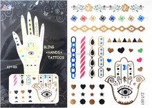 hot-selling temporary hand metallic tattoo,gold and silver tattoo stickers