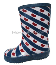 Waterproof rubber rain boots with cute red hot heart
