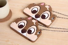 kinds of cute cartoon silicon case for iPhone 6 with the chain