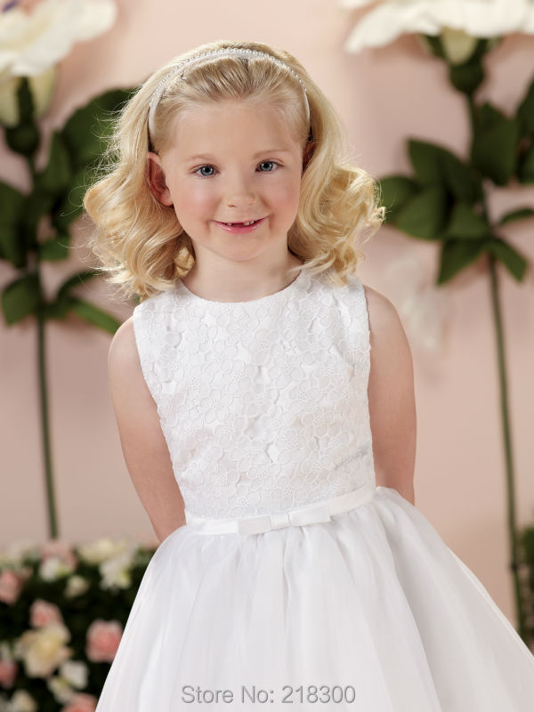 Lace White Organza First Communion Dresses Tea Length Holy ...