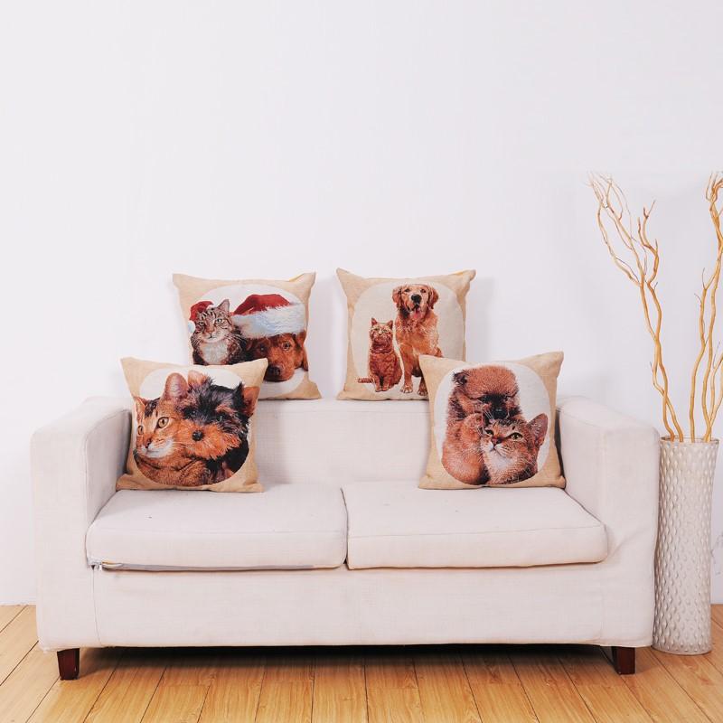 Cotone e lino fumetto gatto e cane divano in tessuto cuscino della copertura della cassa id - Gatto divano microfibra ...