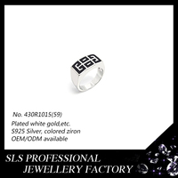 Turkish S925 silver jewelry wholesale enamel black stetting muslim rings for men