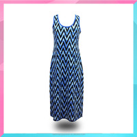 2015 women clothing sleeveless casual dress with geometric pattern