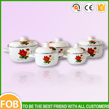 2015 New Design for 5pcs enamel pot & Enamel Cookware