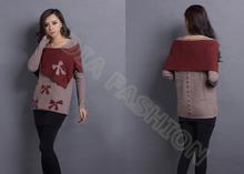 La moda de lana de cordero/de nylon para mujer primicia cuello suéter suéter rojo con poncho
