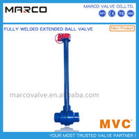 High quality manual gear and actuated above or buried stem or nipple extended butt weld ball valve