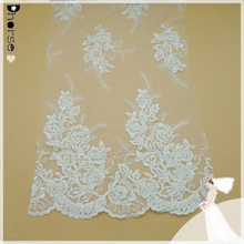 """51""""/Yd DH-BF601 Fancy Design Hand Beaded Embroidery Lace/Floral Embroidery on Polyester Mesh Fabric/Dhorse Bridal Lace"""