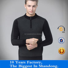 100% wool half-cardigan sweater for men cardigan pullover joint with zipper