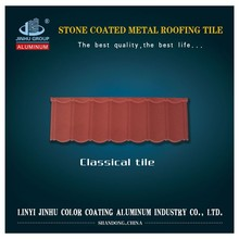 Red and black classical stone coated steel roof tile
