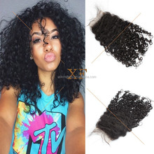 Top quality breathable Swiss lace 4*4 size 100% raw indian hair jerry curl top closure pieces