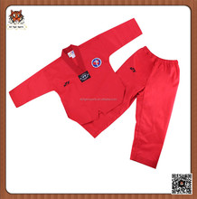 hot sale V neck red taekwondo uniform