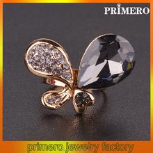 PRIMERO 2015 Fashion crystal finger ring Costume jewelry Rhinestone butterfly wings Women's full of diamond cuff rings