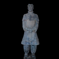Construction Decoration Ancient Chinese Sculptures Clay Carved Garden Statues Terracotta Warrior Rplica General With Sword