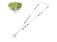bling rhinestone rosary cross with angel wing necklace