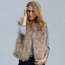 Hand knitted Women Fake Fox Fur Vest