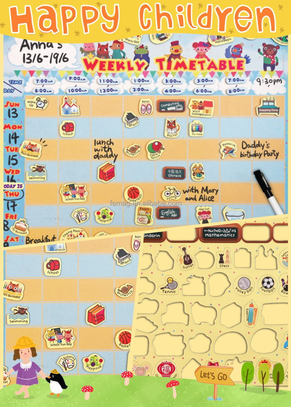 E1014 Learning Educational Toys Weekly Timetable Planning