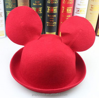 Special hot sale cute animal wool felt micky Hat with ears