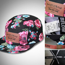 Floral sublimation printing caps, Leather embossed patch hats, Metal buckle leather strap snapback caps