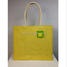 Yellow Padded Beach Shopping Burlap Jute Bag