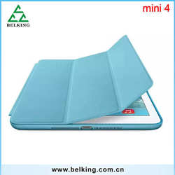 Solid Color Case Smart Flip Cover for iPad mini 4 / For iPad mini 4 3folders folding stand leather case