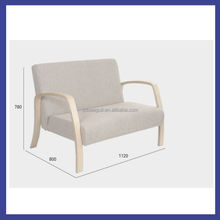 Korea style wooden birch bentwood relax armrest chair in living room