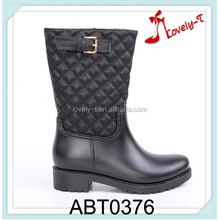casual woman double buckle zipper splicing half boots with upper uplift