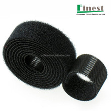 Customized black back to back velcro cable tie roll