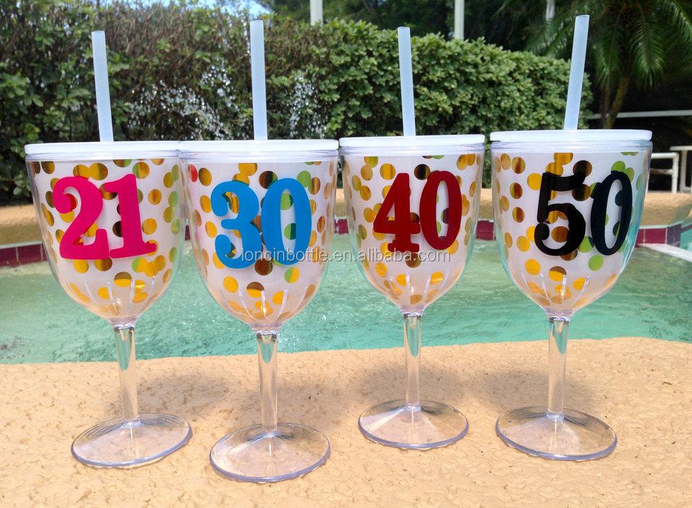 New Gold Glitter Wine Glass 13oz Wine Glasses With Lids