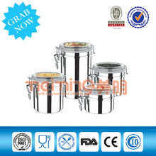 Paslanmaz çelik ve akrilik kavanoz kelepçe/mutfak depolama/bal kavanozları