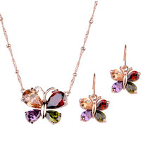 2015 christmas silver imitation jewelry set with Colorful Crystal jewelry gold plated for women