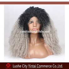 ALSOME ! Synthetic Lace Front Wigs Afro Kinky Curly Wig Black Grey 2 Tone Ombre Natural Lace Front Wig