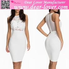 High fashion Sheer Lace Top Sleeveless white princess dresses
