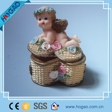 resin little angel container for home decor, decorative storage box