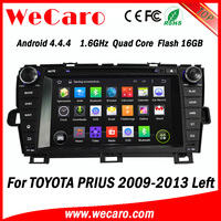 Wecaro Android 4.4.4 car dvd player 1024 * 600 touch screen car dvd for toyota prius A9 cpu left hand drive 2009 - 2014