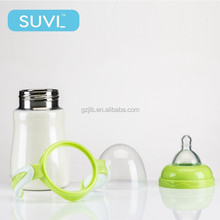 Food grade colorful 150/180ml stainless steel baby feeding bottle with handle