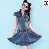2015 newly style fahion cheap price women dress blue jeans JXCY056