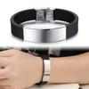 punk man silicon bracelet, silver glaze stainless steel bracelet(SWTJU636)